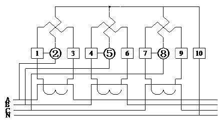 3.2 电源端子接线图 dts6607型三相四线直接式接线图(图4.