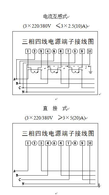 2)三相四线电源端子接线图